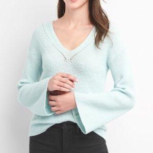 Gap Aqua Pointelle V-Neck Sweater